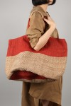 HAND WOVEN JUTE BAG-Large -Red Stripe (BSK-J32)