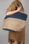 HAND WOVEN JUTE BAG-Large -Indigo Stripe (BSK-J38)