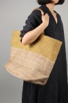 HAND WOVEN JUTE BAG-Large -Yellow Stripe(BSK-J34)