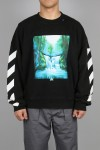 WATERFALL OVER CREWNECK/1088 BLACK MULTICOLOR(OMBA035E19E300151088)