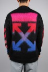 Off-White DIAG BRUSHED MOHAIR CREWNECK/1088 BLACK MULTICOLOR(OMHA036E19B020241088)