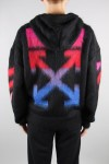 Off-White DIAG BRUSHED MOHAIR ZIP HOODI/1088 BLACK MULTICOLOR(OMHA073E19B020241088)