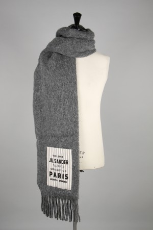 Jil Sander ARTWORK PATCH FRINGE SCARF -MEDIUM GREY- (JSMP905001)