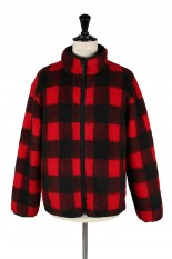 John Elliott Polar Fleece Zip Up / Red Check(3020400114)