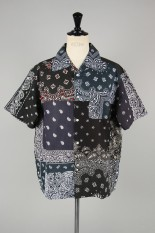 Children Of The Discordance VINTAGE BANDANA PATCHWORK SHIRT SS - BLACK 2 #1 (COTDSH-104)